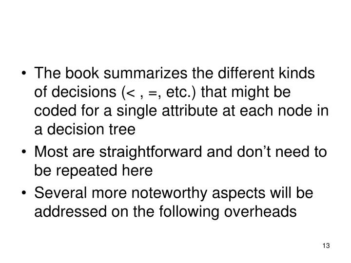 The book summarizes the different kinds of decisions (< , =, etc.) that might be coded for a single attribute at each node in a decision tree
