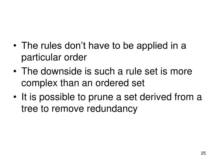 The rules don't have to be applied in a particular order