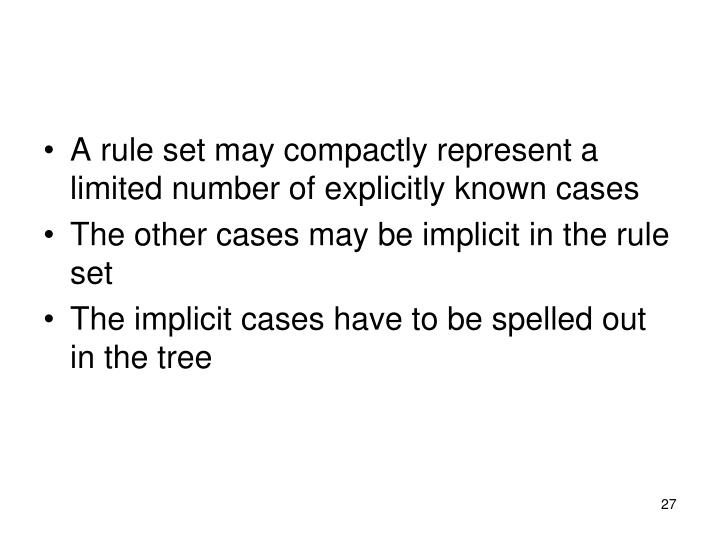 A rule set may compactly represent a limited number of explicitly known cases