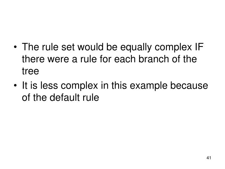 The rule set would be equally complex IF there were a rule for each branch of the tree