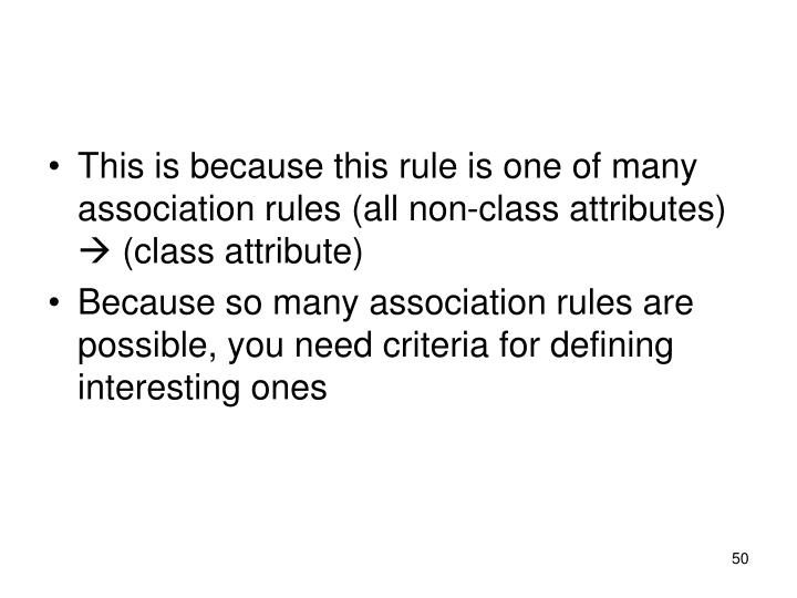 This is because this rule is one of many association rules (all non-class attributes)