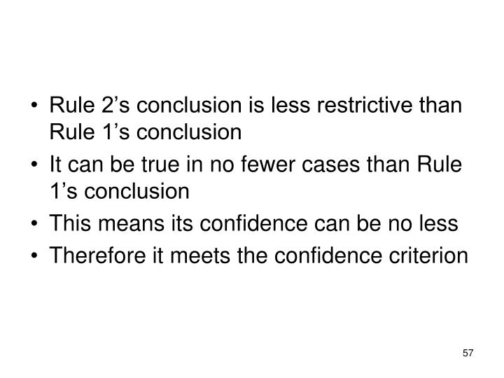 Rule 2's conclusion is less restrictive than Rule 1's conclusion