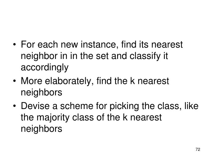For each new instance, find its nearest neighbor in in the set and classify it accordingly