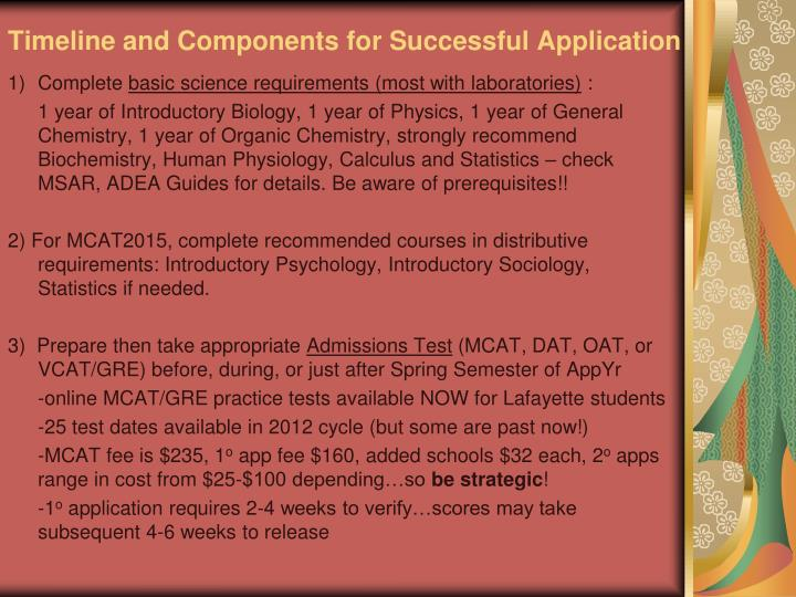 Timeline and components for successful application
