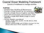 coastal ocean modeling framework consists of middleware to manage workflow