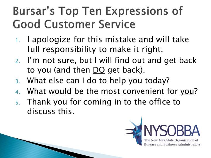 Bursar's Top Ten Expressions of Good Customer Service