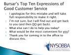 bursar s top ten expressions of good customer service
