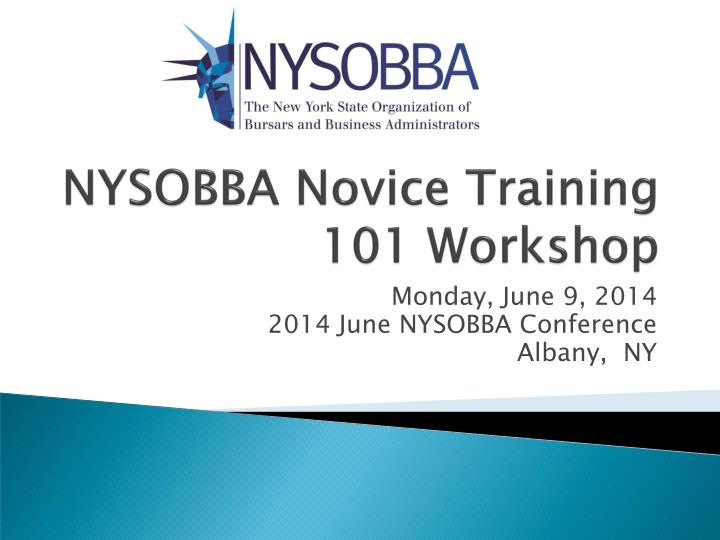 Nysobba novice training 101 workshop