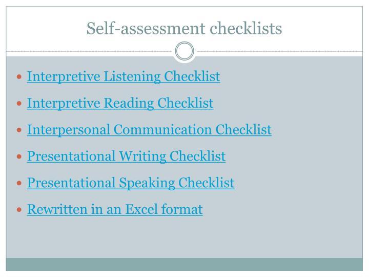 Self-assessment checklists