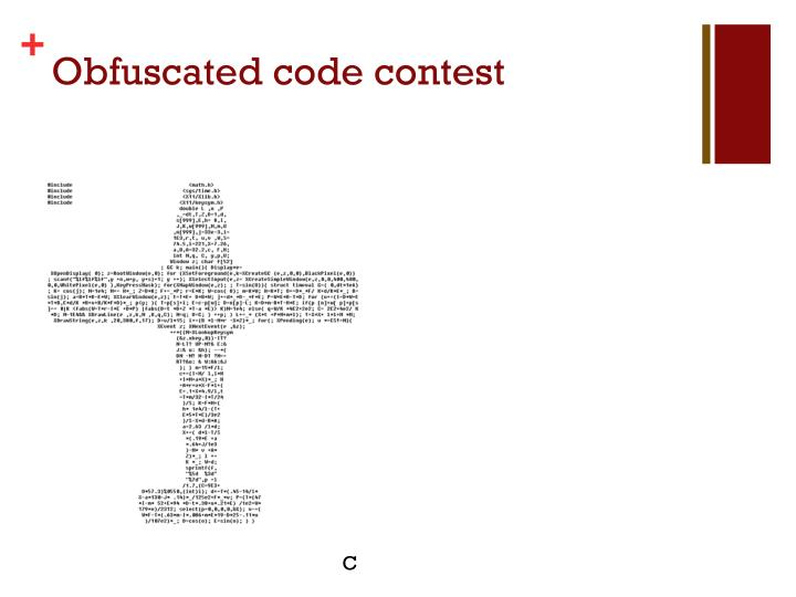 Obfuscated code contest