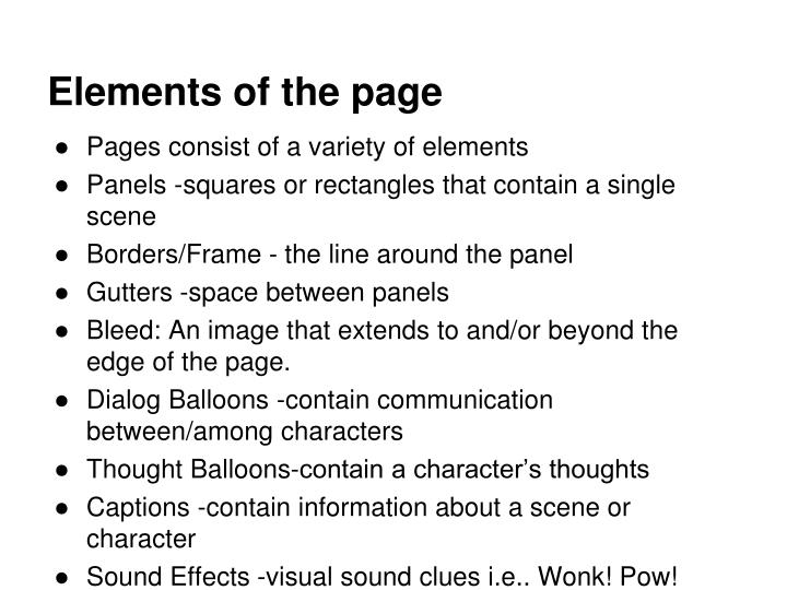 Elements of the page