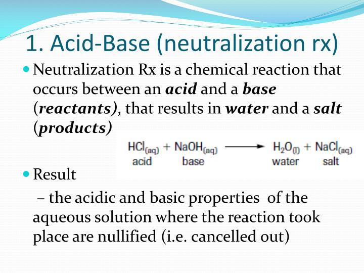 1. Acid-Base (neutralization