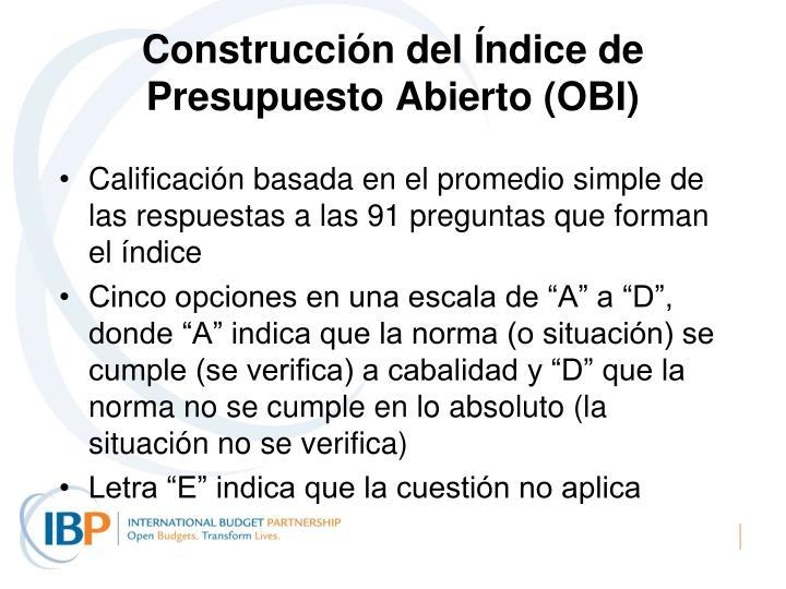 Construcción del Índice de Presupuesto Abierto (OBI)