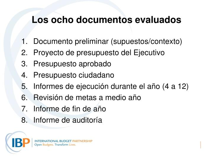 Los ocho documentos evaluados