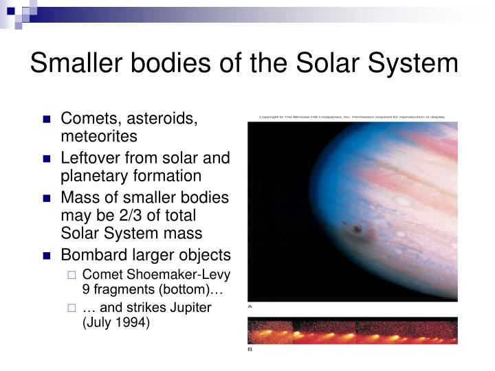 Smaller bodies of the Solar System