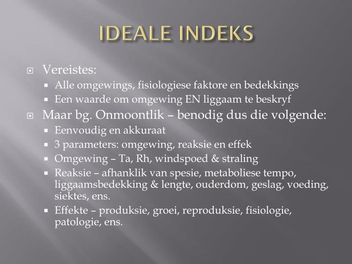 Ideale indeks