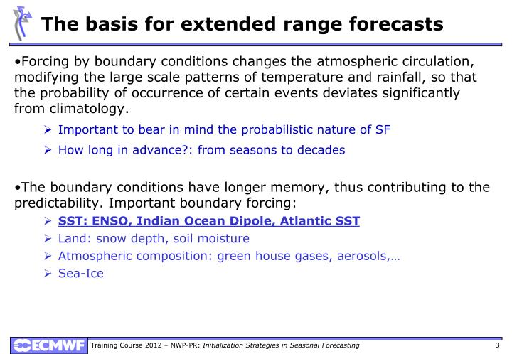 The basis for extended range forecasts