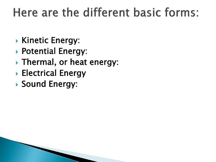 Here are the different basic forms: