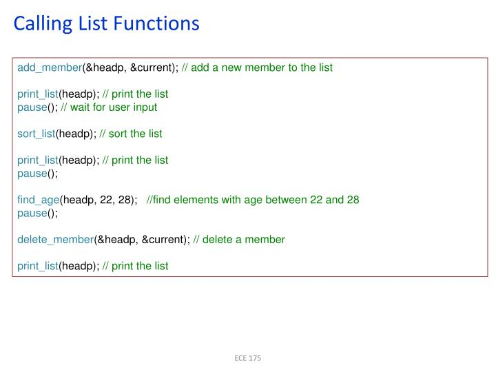Calling List Functions