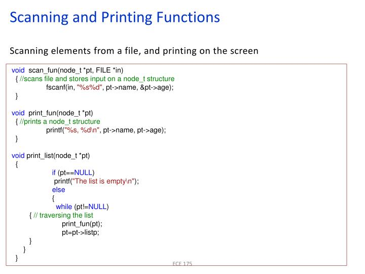 Scanning and Printing Functions
