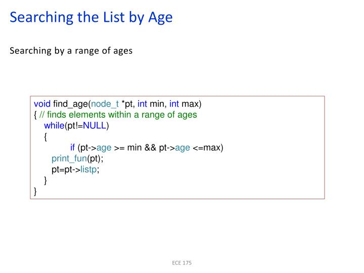Searching the List by Age