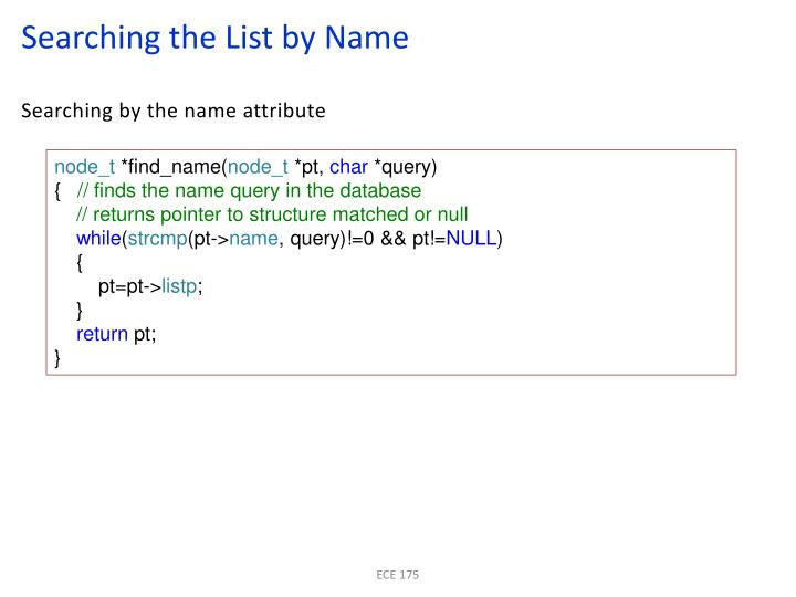 Searching the List by Name