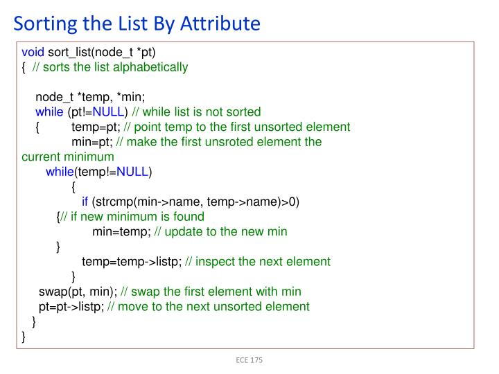 Sorting the List By Attribute