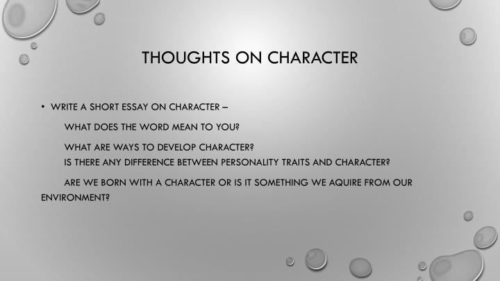 Thoughts on character