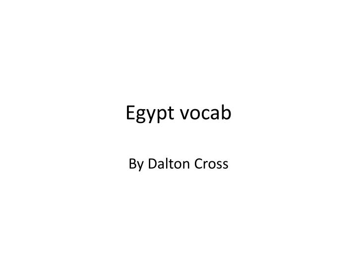 Egypt vocab