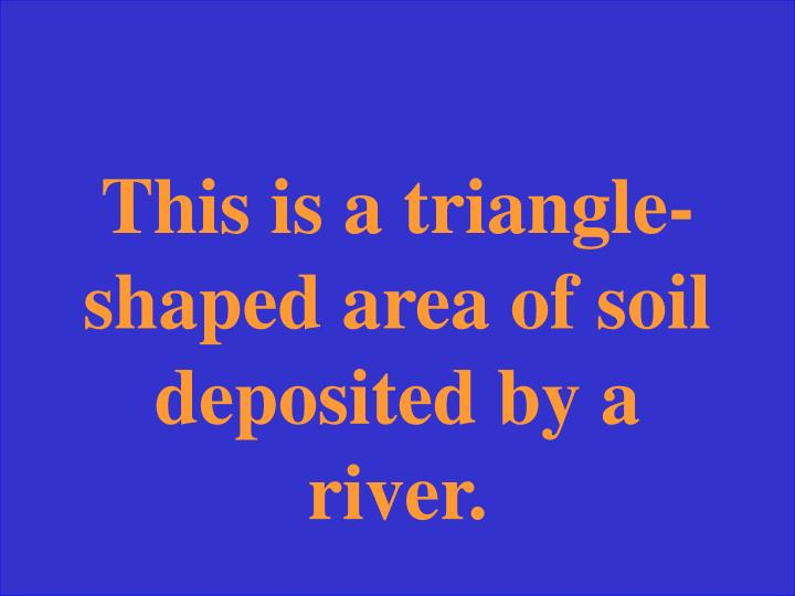 This is a triangle-shaped area of soil deposited by a river.
