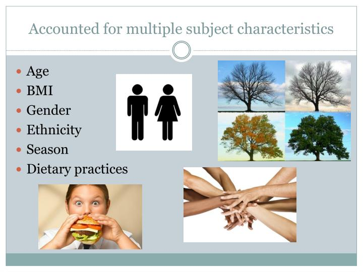 Accounted for multiple subject characteristics
