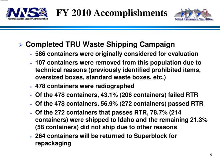FY 2010 Accomplishments