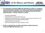 llnl history and mission