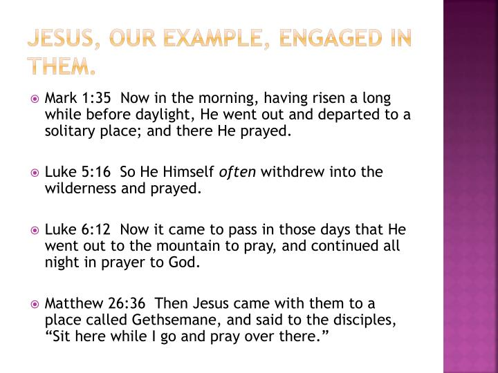 Jesus, our example, engaged in them.