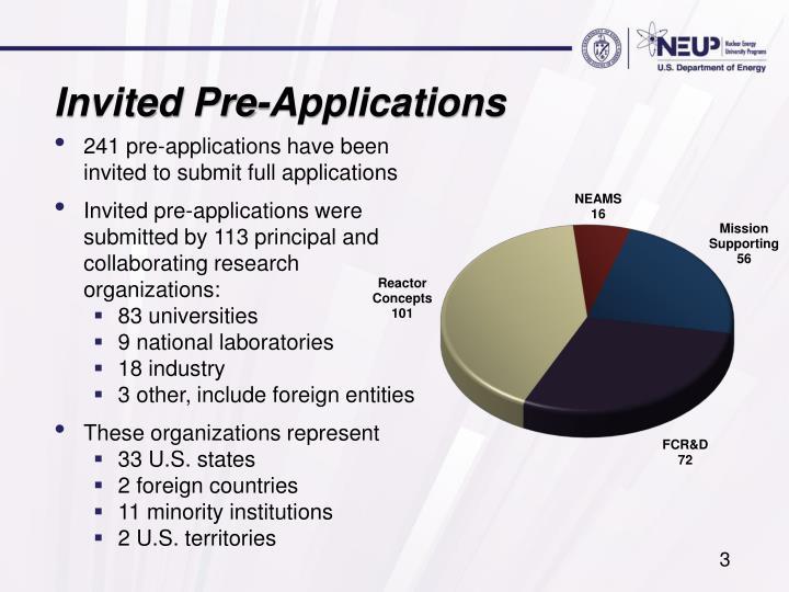 Invited Pre-Applications