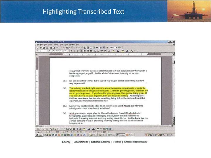Highlighting Transcribed Text