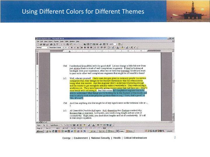 Using Different Colors for Different Themes