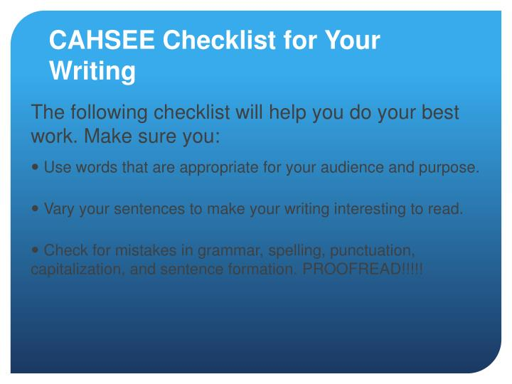 CAHSEE Checklist for Your Writing