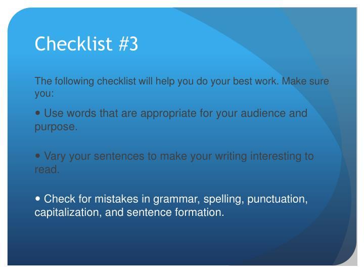 Checklist #3
