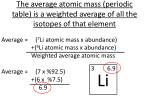 the average atomic mass periodic table is a weighted average of all the isotopes of that element