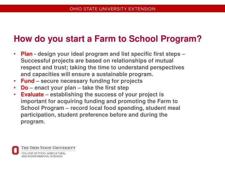 How do you start a Farm to School Program?