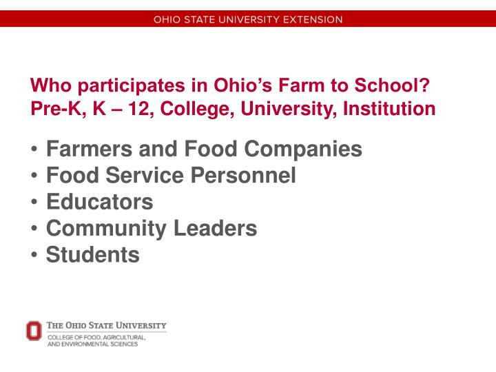 Who participates in Ohio's Farm to School? Pre-K, K – 12, College, University, Institution