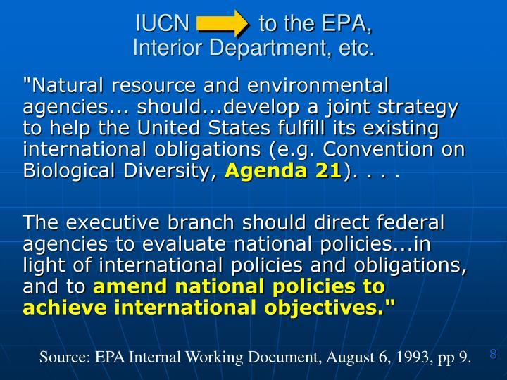 IUCN           to the EPA,