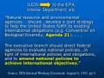 iucn to the epa interior department etc