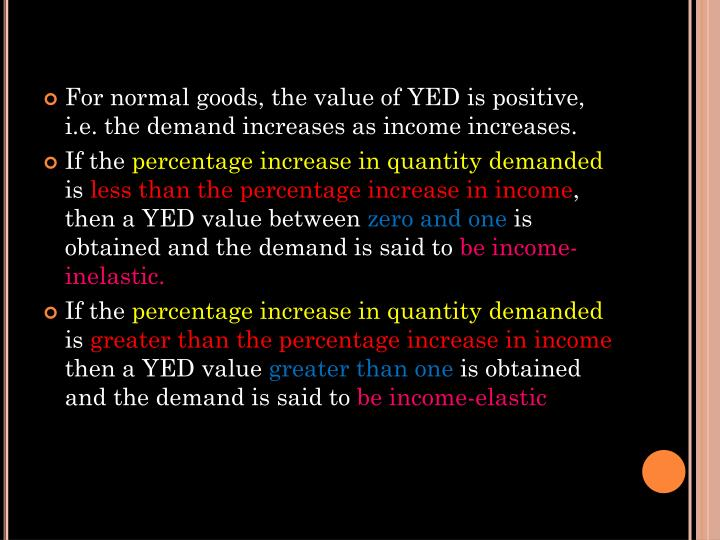 For normal goods, the value of YED is positive, i.e. the demand increases as income increases.