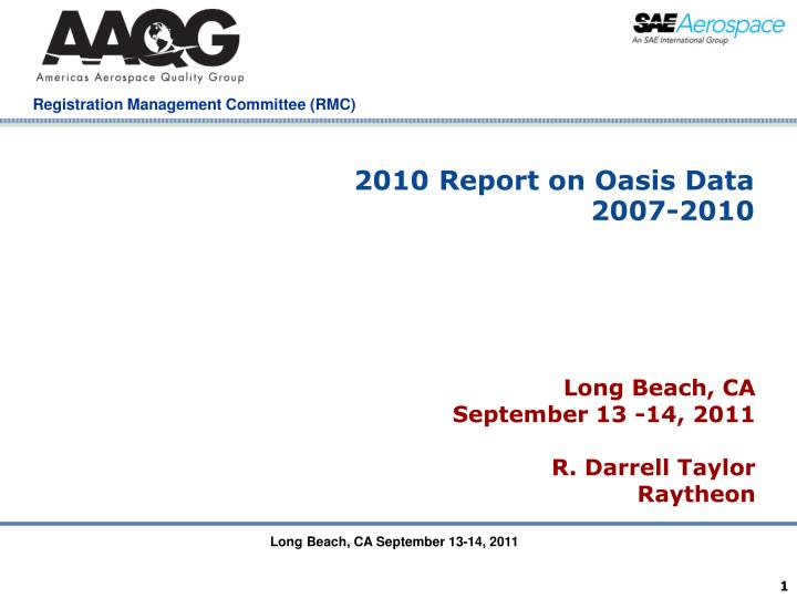 2010 Report on Oasis Data