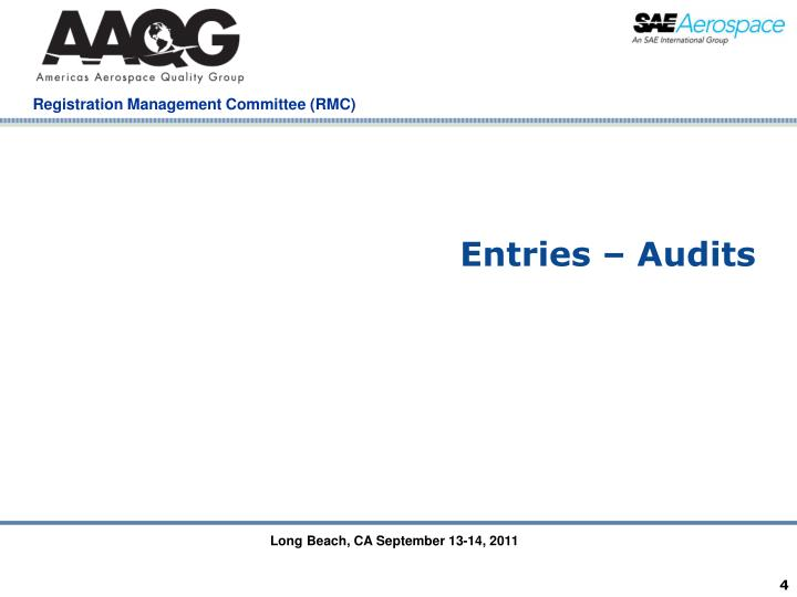 Entries – Audits