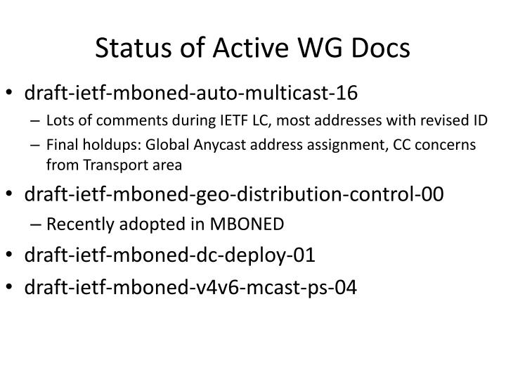 Status of Active WG Docs