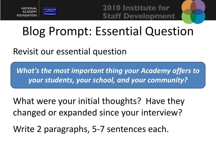 Blog Prompt: Essential Question