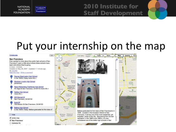 Put your internship on the map